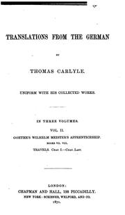 Translations from the German by Thomas Carlyle