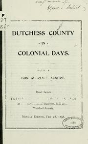 Dutchess county in colonial days PDF