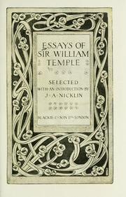 Essays of Sir William Temple PDF