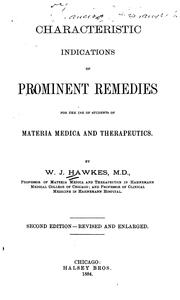 Characteristic indications of prominent remedies by William J. Hawkes
