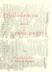 Philodemus and Greek Papyri by P. G. Naiditch