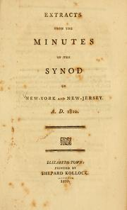 Extracts from the Minutes of the Synod of New York and New Jersey PDF