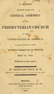A sermon preached before the General Assembly of the Presbyterian Church in the United States of America PDF
