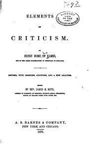 Elements of Criticism by Henry Home Kames