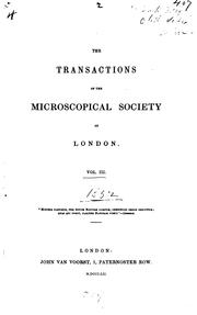 The Transactions of the Microscopical Society of London by Microscopical Society of London