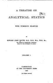 A Treatise on Analytical Statics, with Numerous Examples: With Numerous Examples PDF