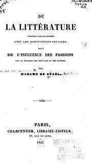 De la littérature considérée dans ses rapports avec les institutions sociales: suivi de l ...