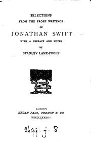 Selections from the prose writings of Jonathan Swift, with preface and notes by S. Lane-Poole PDF