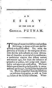 An Essay on the Life of the Honorable Major-General Israel Putnam: Addressed .. PDF
