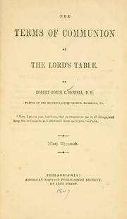 The terms of communion at the Lord's table PDF