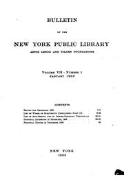 Bulletin of the New York Public Library by New York Public Library