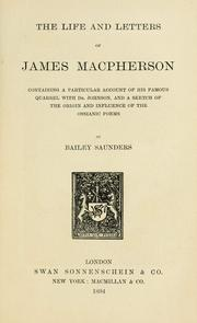 Cover of: The life and letters of James Macpherson by T. Bailey Saunders