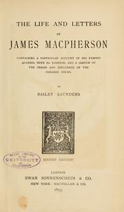 The life and letters of James Macpherson by T. Bailey Saunders