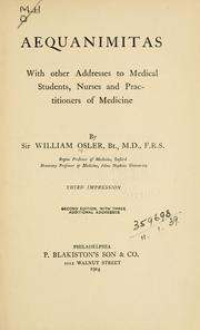 Aequanimitas by Osler, William Sir