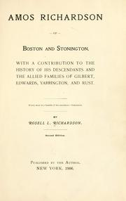 Cover of: Amos Richardson of Boston and Stonington by Rosell Lewellyn Richardson