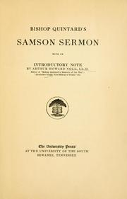 Bishop Quintard's Samson sermon by C. T. Quintard
