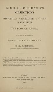 Bishop Colenso's objections to the historical character of the Pentateuch and the book of Joshua (contained in par I) critically examined PDF