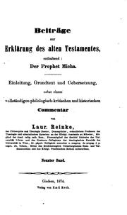 Beitrge zur Erklrung des alten Testamentes by Laurenz Reinke