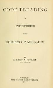 Code pleading as interpreted by the courts of Missouri PDF