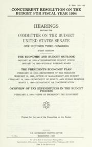 Concurrent resolution on the budget for fiscal year 1994 PDF