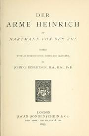 Cover of: Der arme Heinrich by Hartmann von Aue