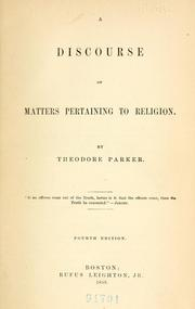 A discourse of matters pertaining to religion by Parker, Theodore