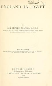 England in Egypt by Milner, Alfred Milner Viscount