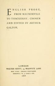 English prose, from Maundevile to Thackeray.