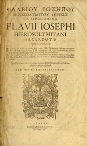 Cover of: Flabiou Iosepou Ierosolumitou hiereos Ta heuriskomena = by Flavius Josephus