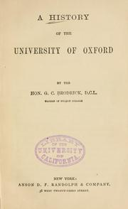 A history of the University of Oxford by George C. Brodrick
