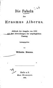 Die Fabeln des Erasmus Alberus by Erasmus Alber