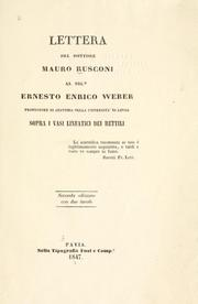 Lettera ... al Sigr. Ernest Enrico Weber .. by Mauro Rusconi