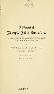 A manual of Aesopic fable literature by George C. Keidel