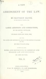 A new abridgment of the law by Bacon, Matthew