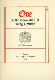 Ode on the coronation of King Edward by Bliss Carman