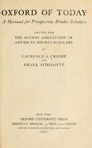 Oxford of today by Laurence Alden Crosby
