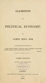 Elements of political economy by Mill, James