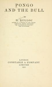Cover of: Pongo and the bull by Hilaire Belloc