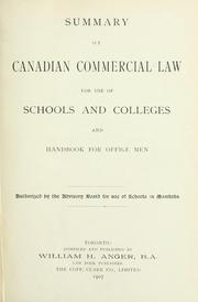 Summary of Canadian commercial law by William Henry Anger