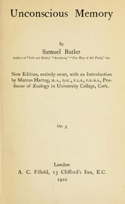 Cover of: Unconscious memory by Samuel Butler