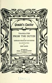 Cover of: Vondel&#39;s Lucifer by Joost van den Vondel