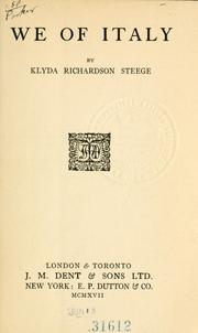 We of Italy by Klyda Richardson Steege