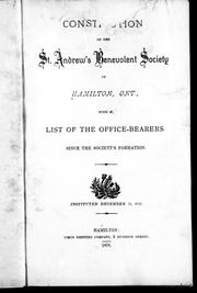 Consti[tut]ion of the St. Andrew&#39;s Benevolent Society of Hamilton, Ont by 