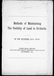 Methods of maintaining the fertility of land in orchards by Saunders, William