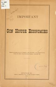 Important gin house economies .. PDF