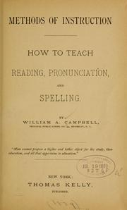 Methods of instruction: how to teach reading, pronunciation, and spelling PDF