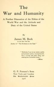 The war and humanity by James M. Beck