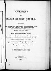 Journals of Major Robert Rogers by Robert Rogers