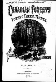 Canadian forests, forest trees, timber and forest products PDF
