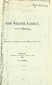 Cover of: The Wilcox family by Whitmore, William Henry